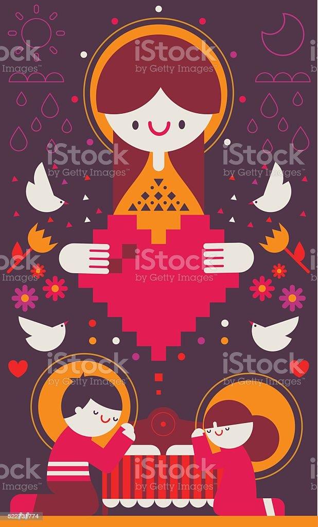 Father & Daughter Praying vector art illustration