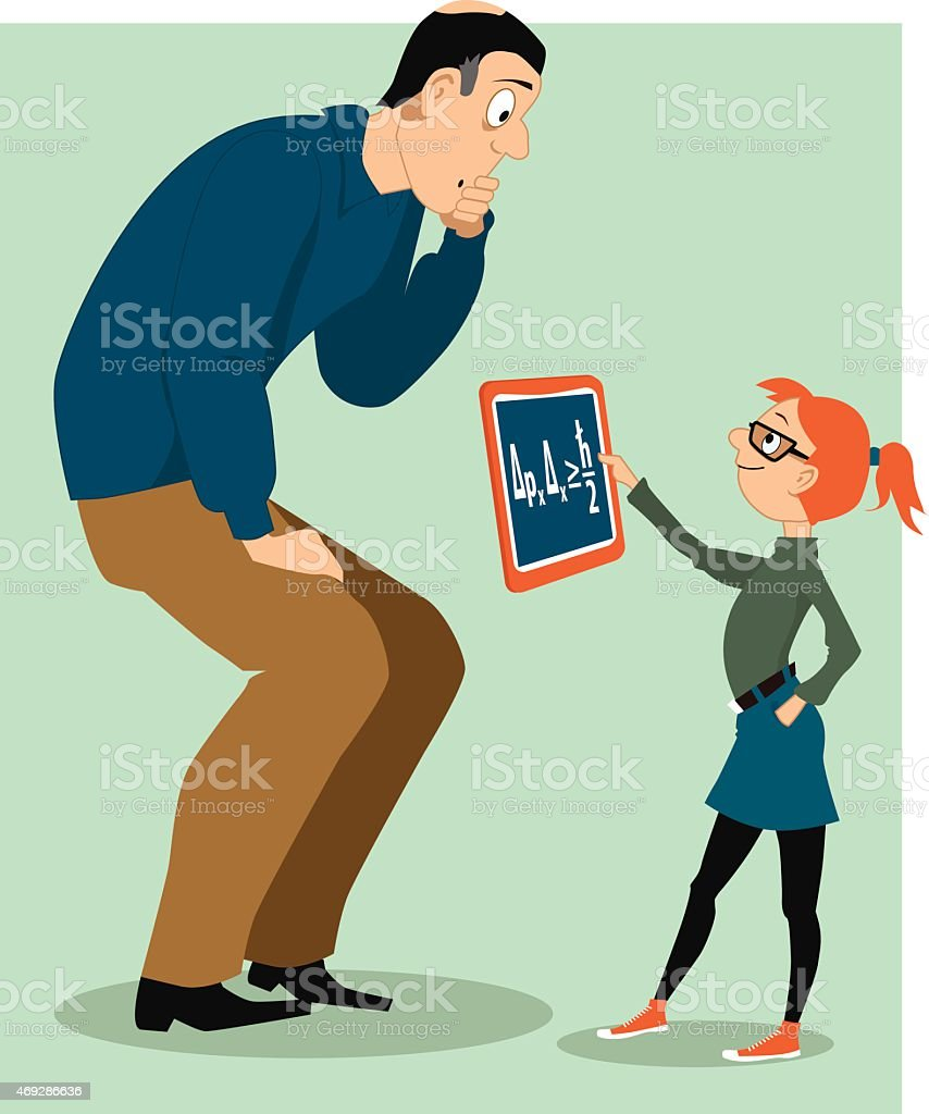 Father helping his daughter with a homework vector art illustration