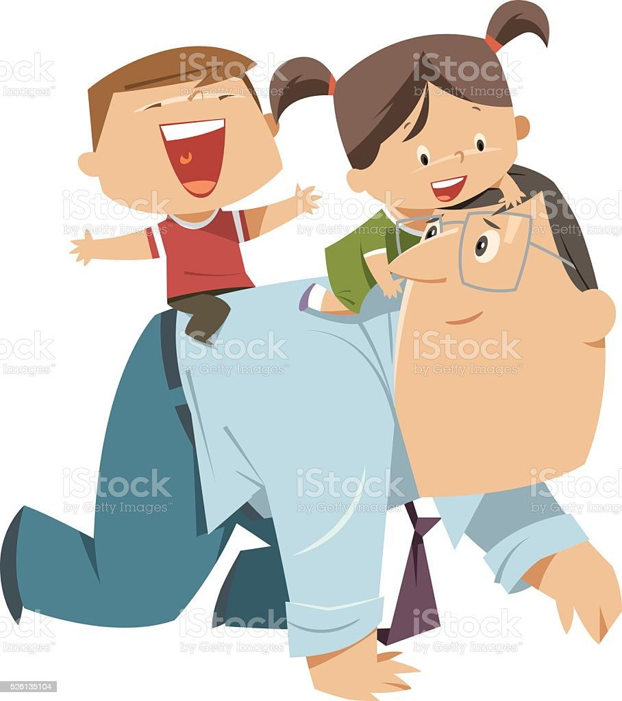 Father Playing With Kids vector art illustration
