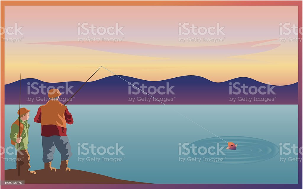 Father son fishing trip royalty-free stock vector art