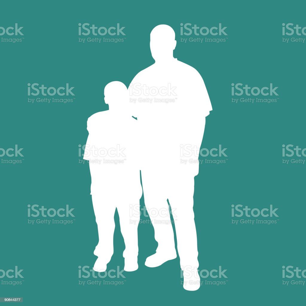 Father Son Silhouette vector art illustration