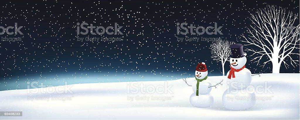 Father & son snowman royalty-free stock vector art