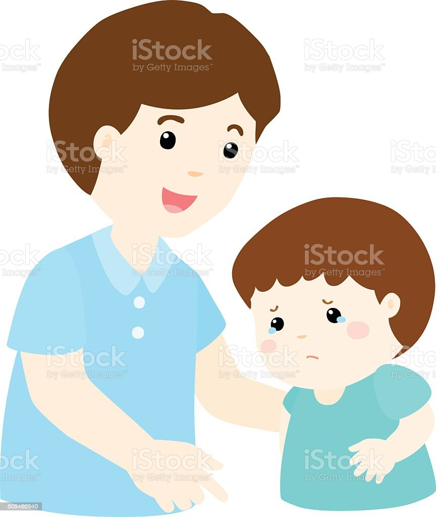 Father soothes crying son vector vector art illustration