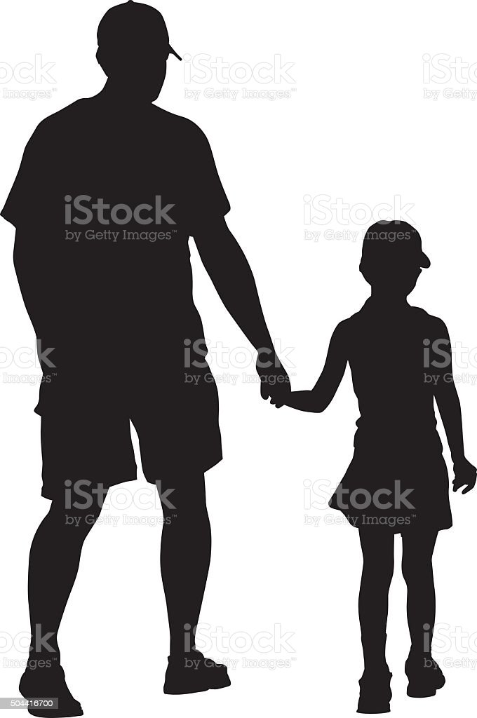 Father Walking With Daughter Holding Hands vector art illustration