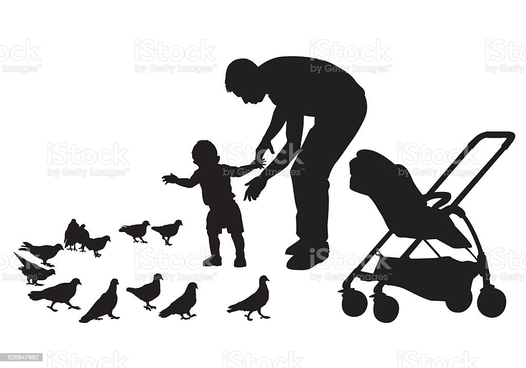 Father with child vector art illustration