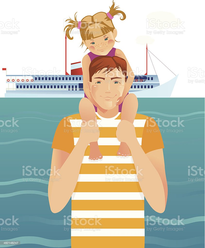 Father with daughter royalty-free stock vector art