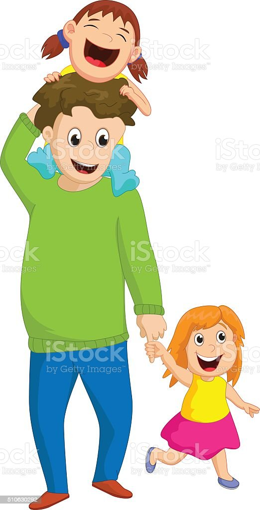 father with two daughters vector art illustration