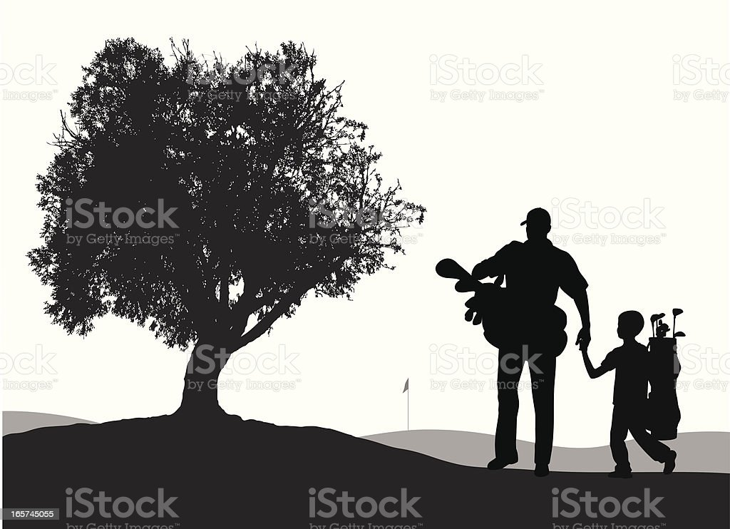 Father'n Son Golf Vector Silhouette vector art illustration