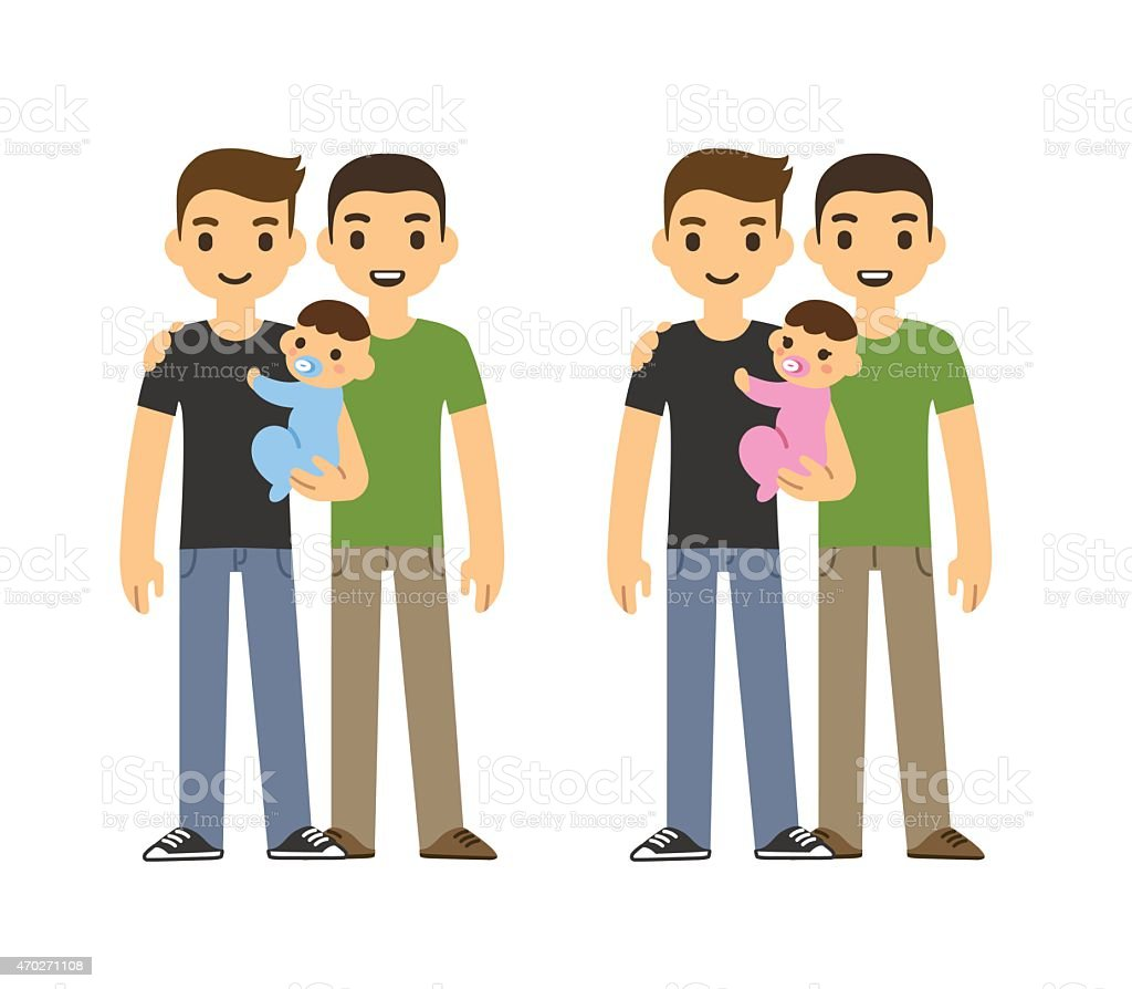 Fathers and baby vector art illustration