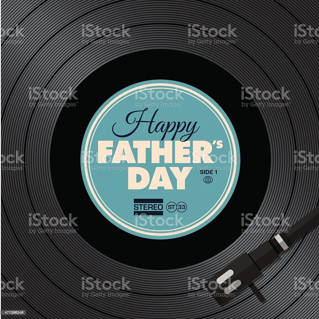 Father's day card. Music vinyl disc concept. vector art illustration