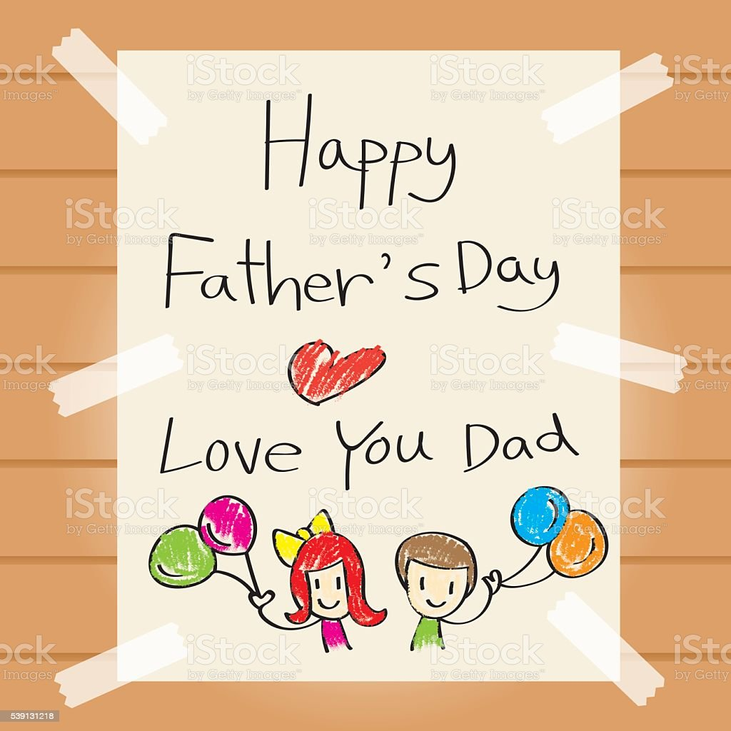 Father'€™s Day Drawing Card vector art illustration