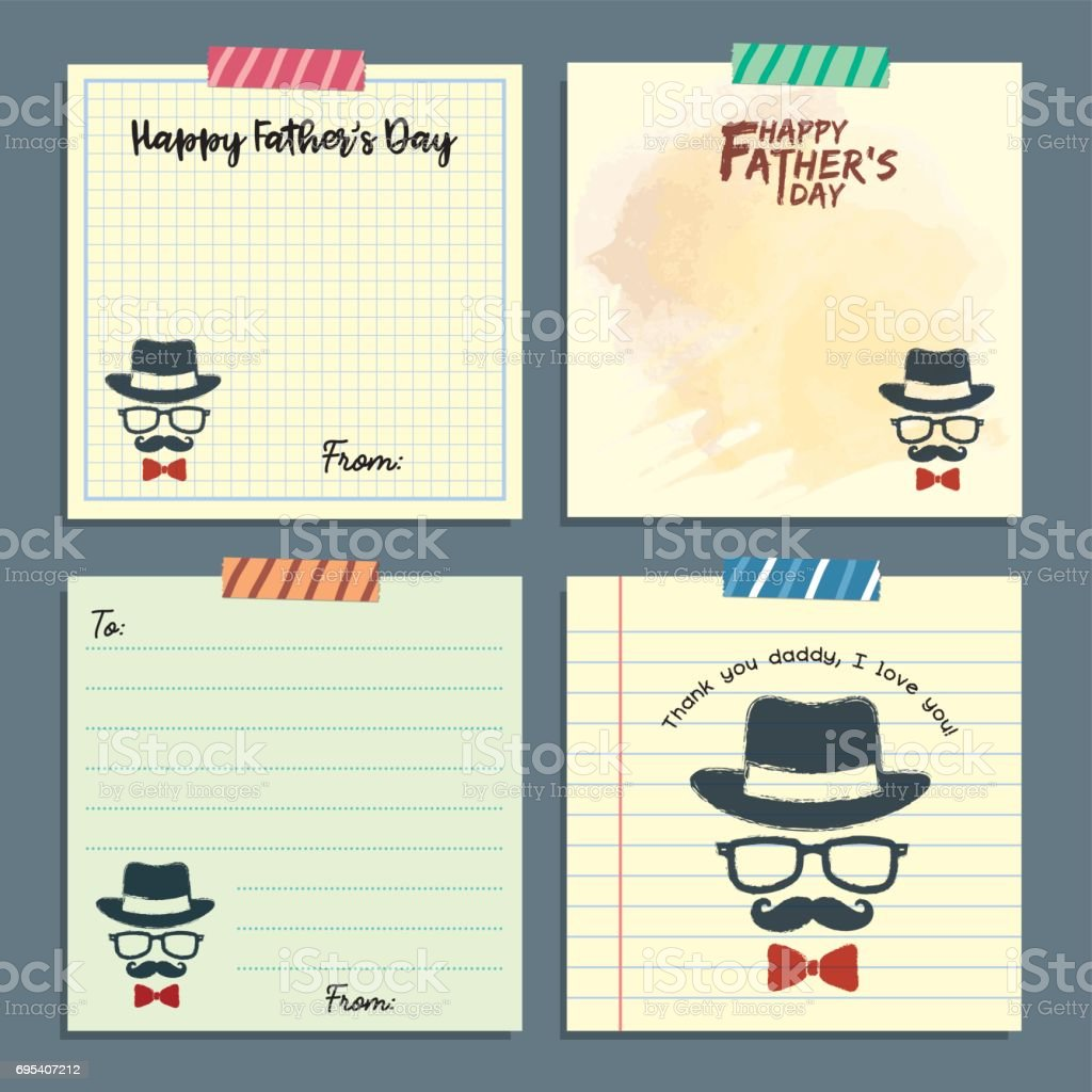 Father's day notepaa set - hipster 1 vector art illustration