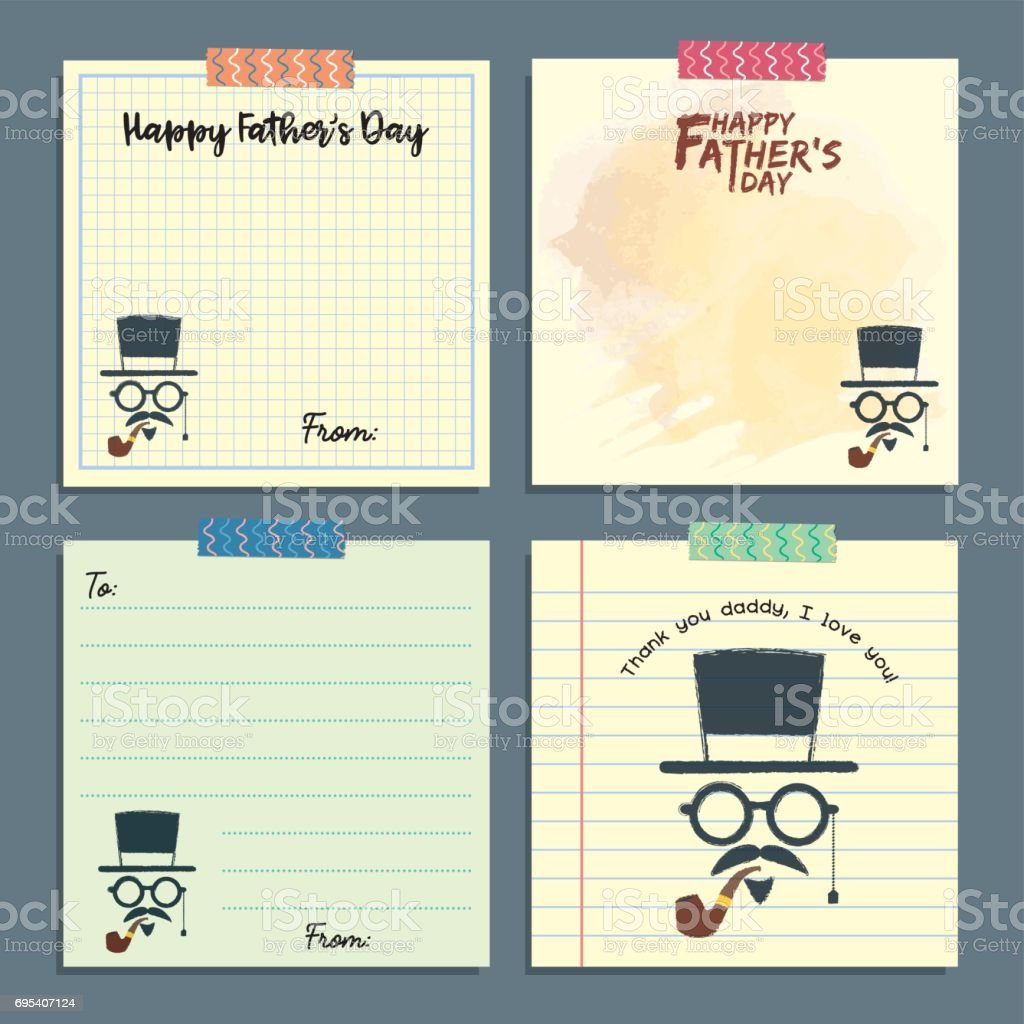 Father's day notepad set - hipster 2 vector art illustration