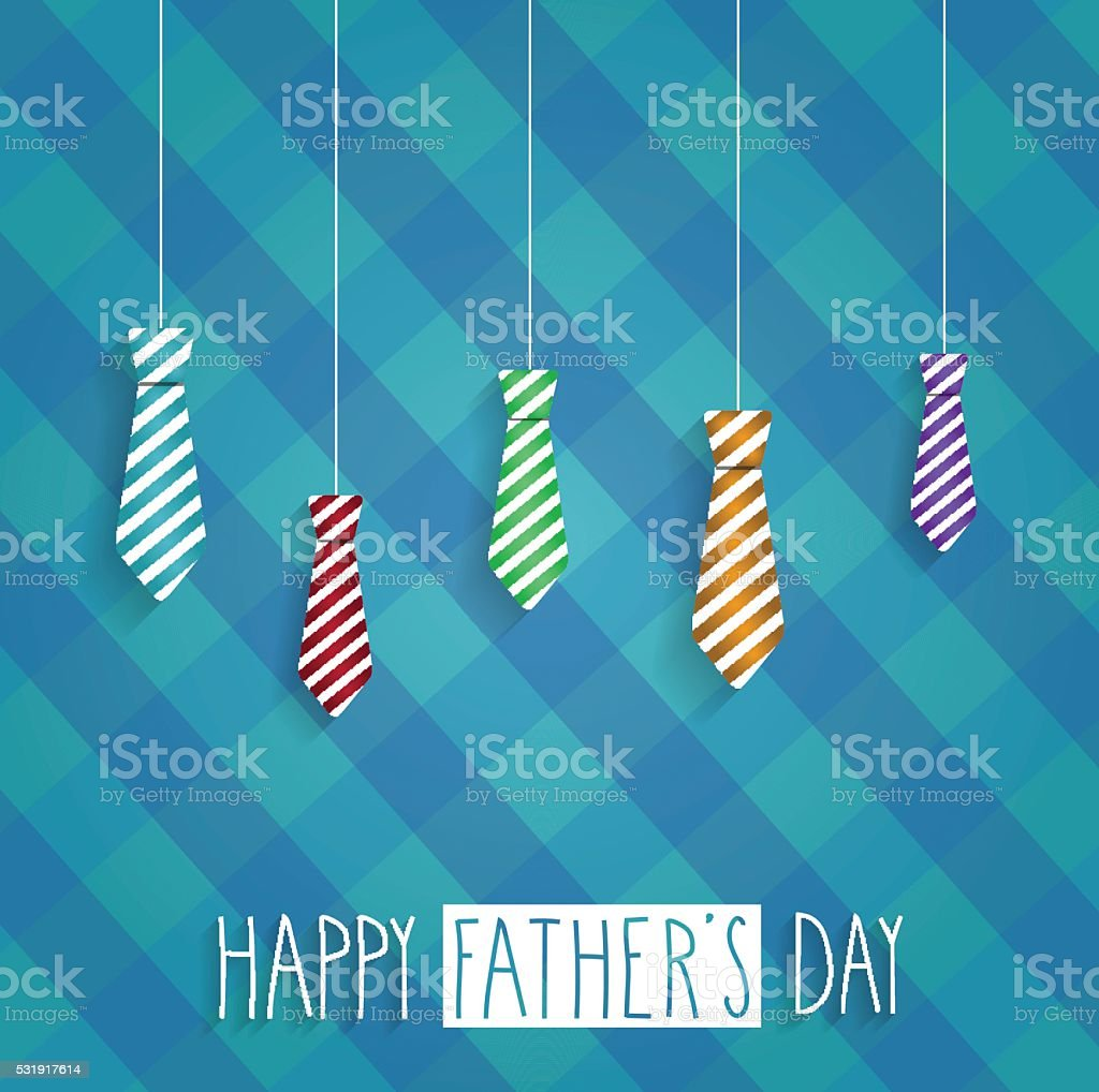 Fathers Day retro poster on cloth back vector art illustration