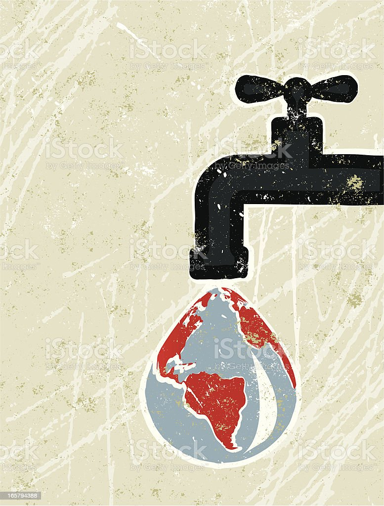 Faucet ( Tap ) and World map royalty-free stock vector art