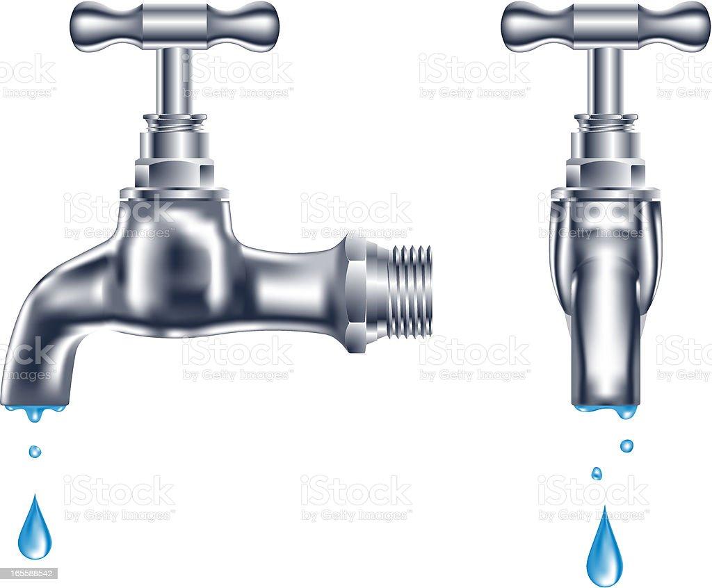 faucet dripping vector art illustration