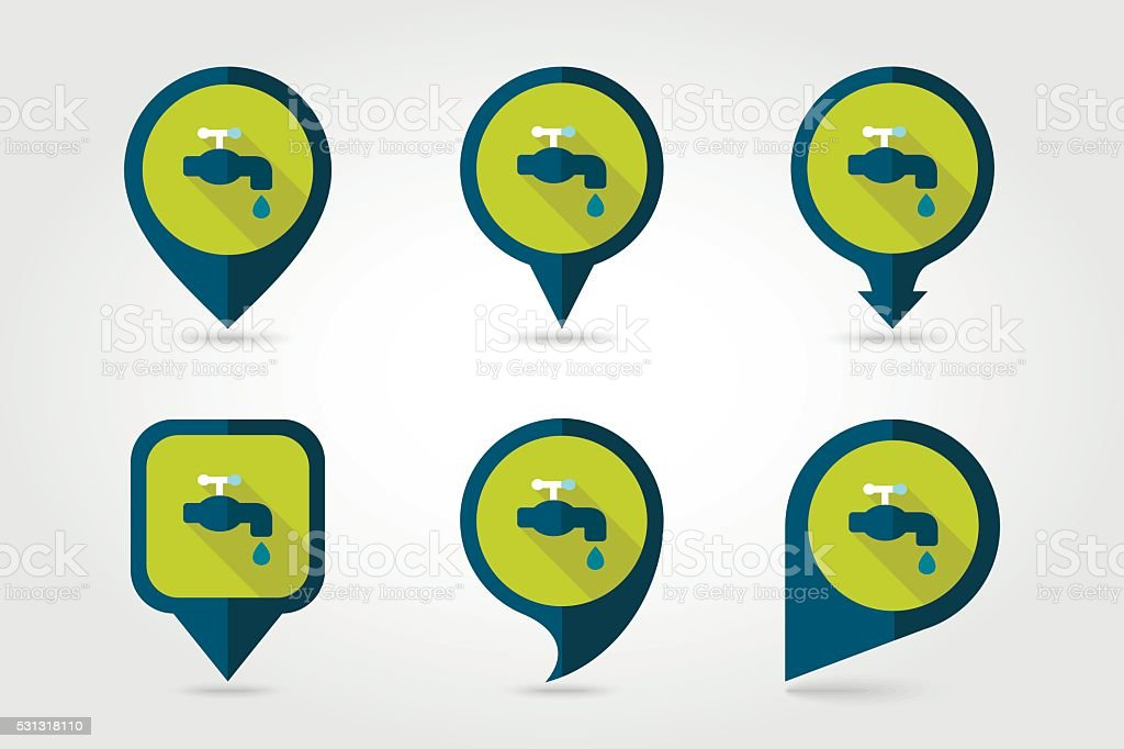 Faucet flat vector pin map icon vector art illustration