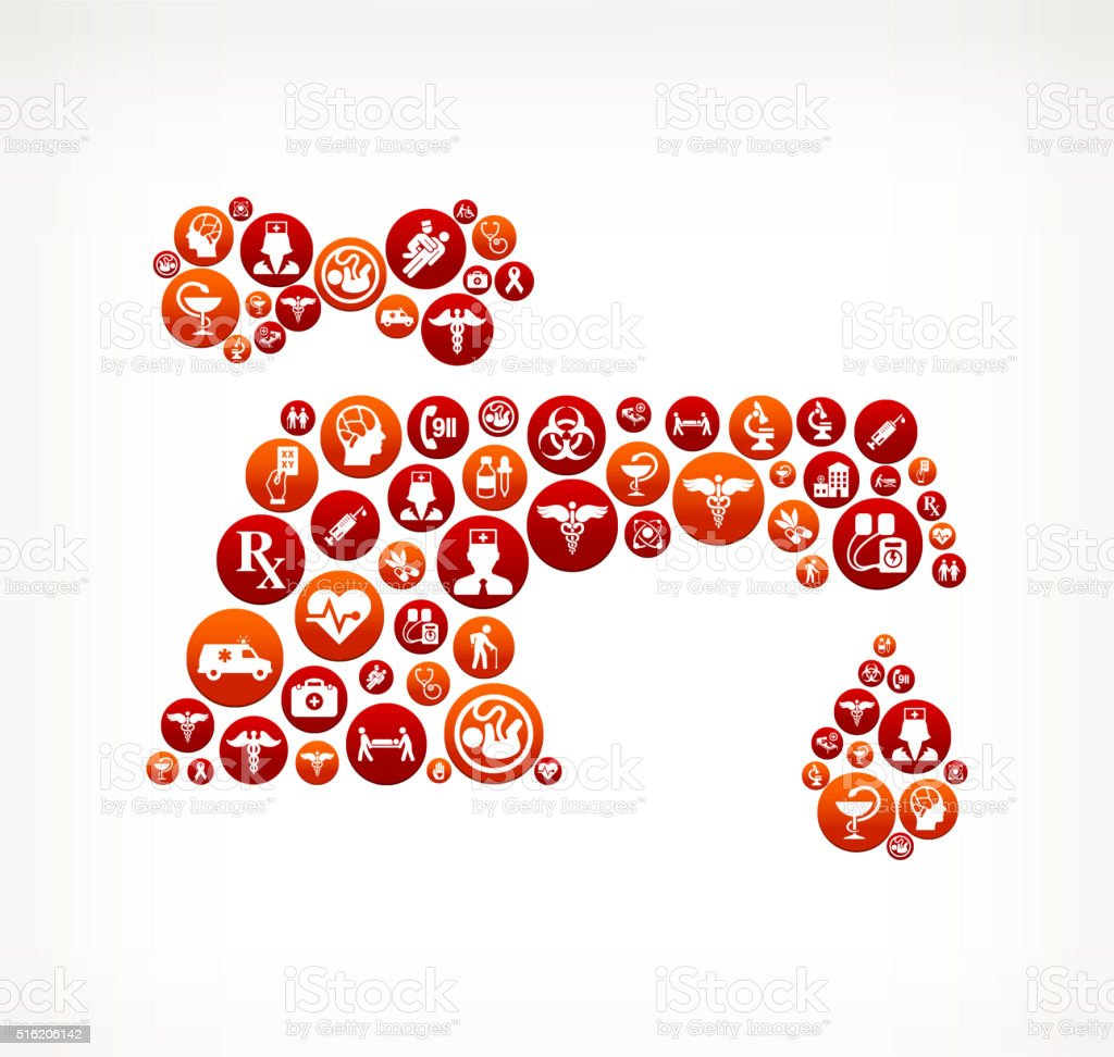 Faucet Healthcare and Medical Red Button Pattern vector art illustration