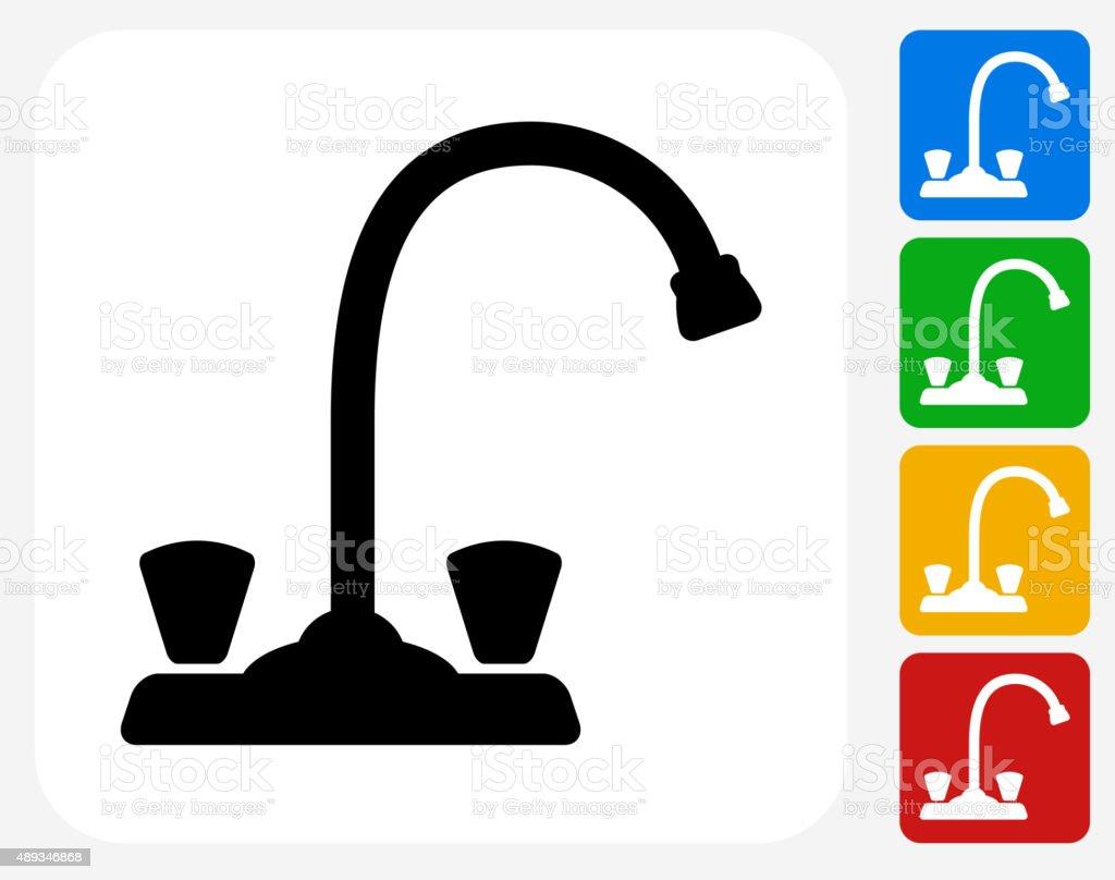 Faucet Icon Flat Graphic Design vector art illustration