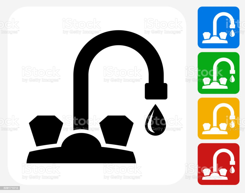 Faucet Icon Flat Graphic Design vector art illustration