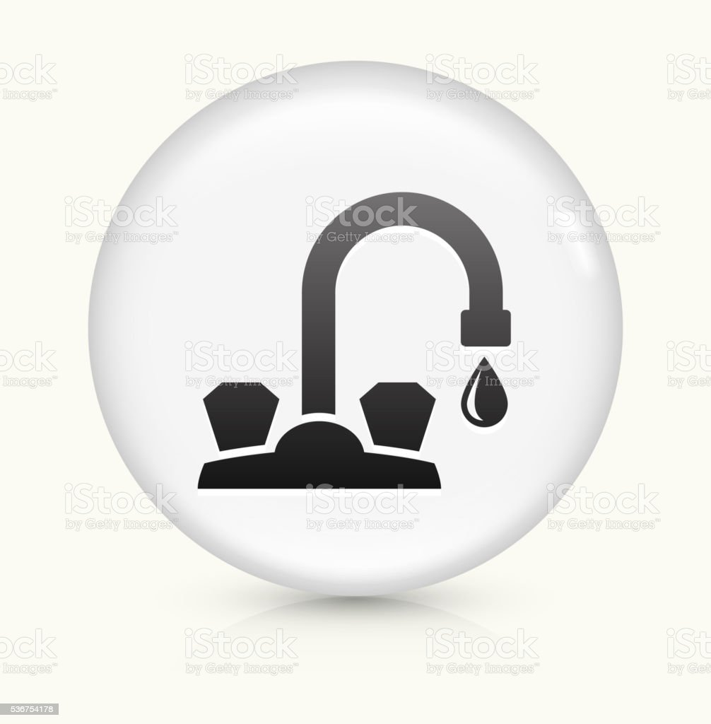 Faucet icon on white round vector button vector art illustration
