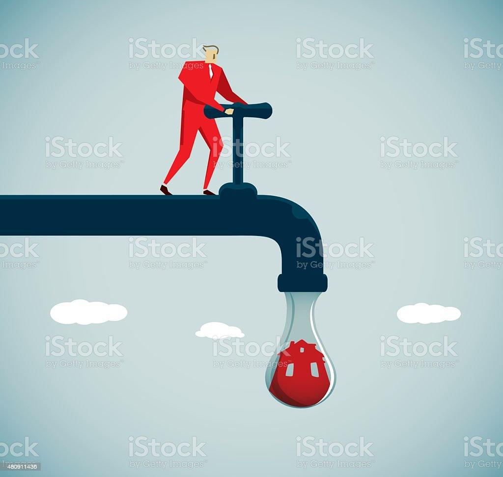 Faucet vector art illustration