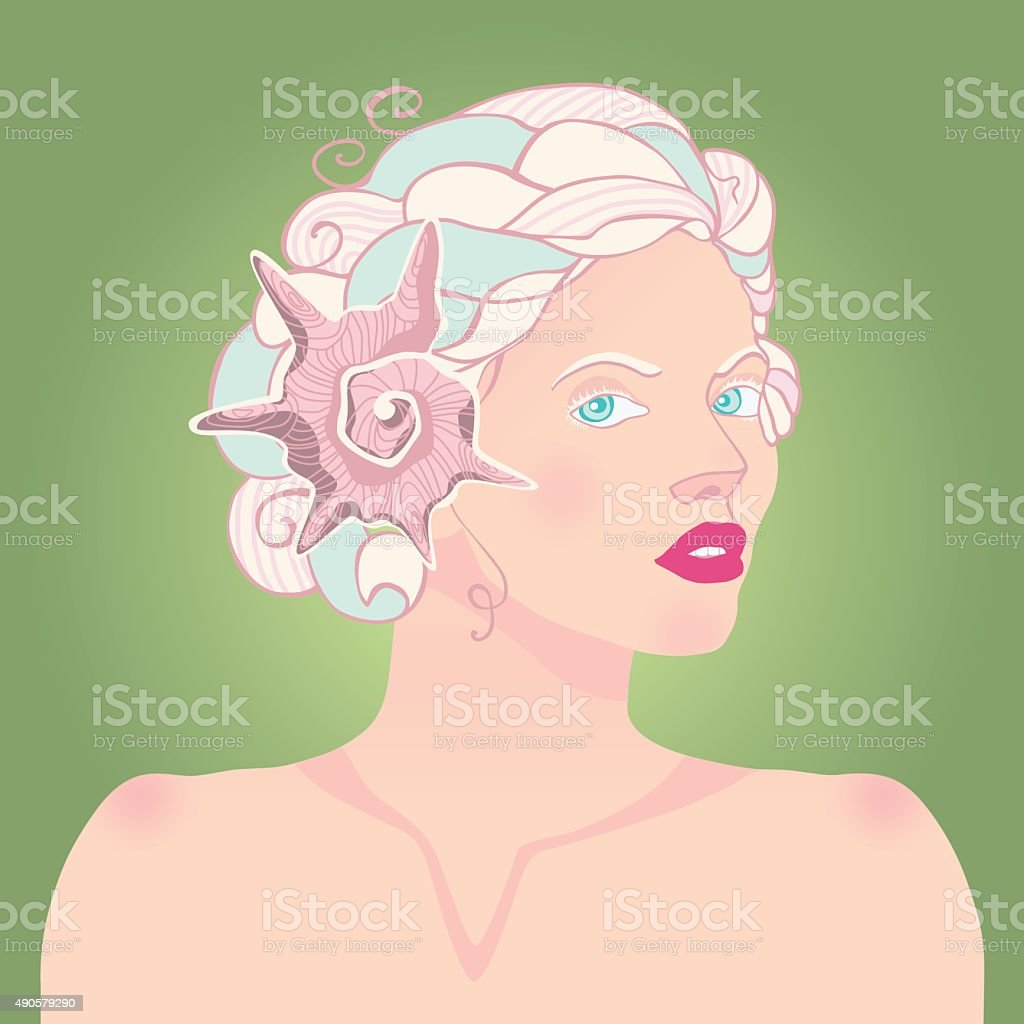 Faun lady with the lamb horns vector art illustration