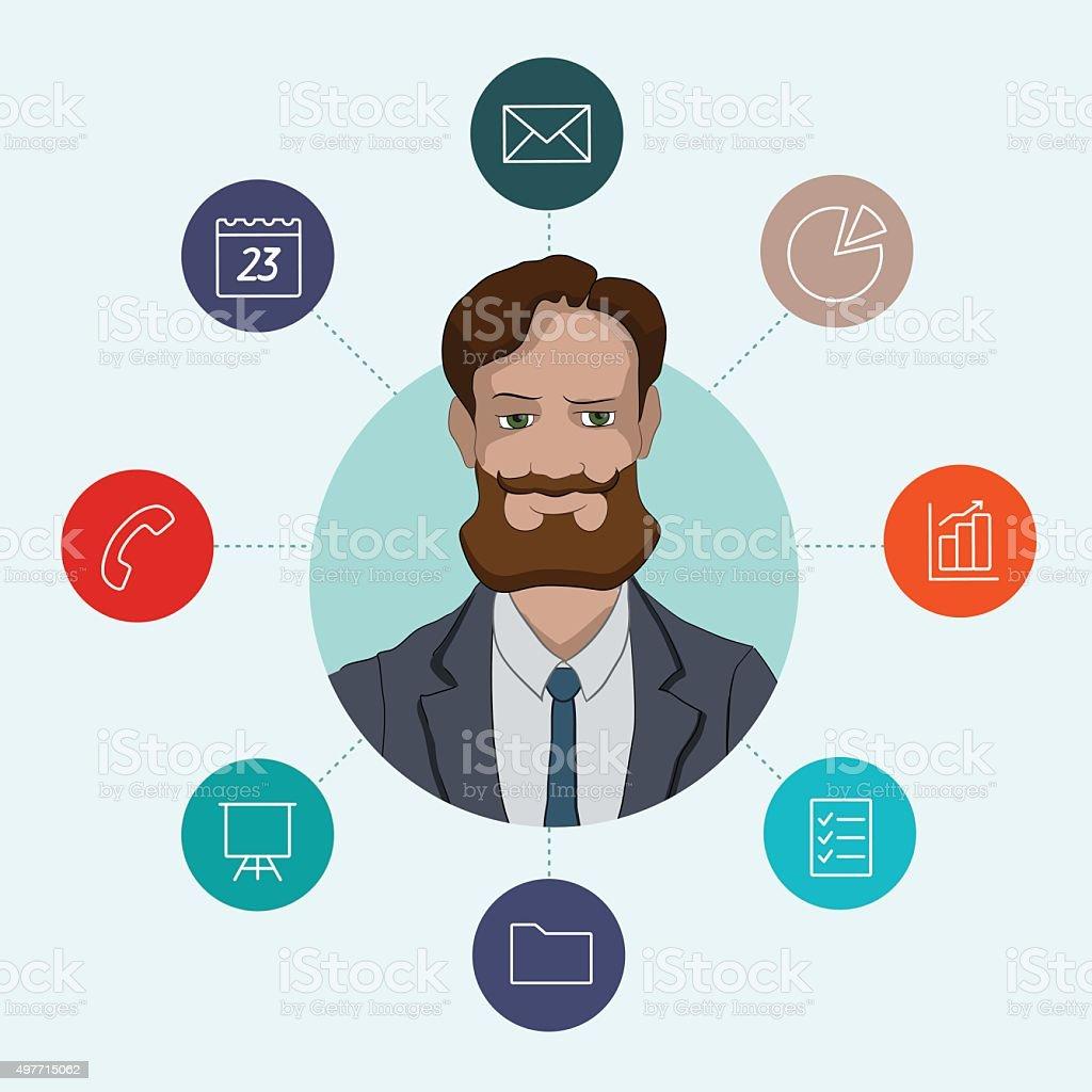 Outils de travail préférée pour les responsables et les voyageurs d'affaires tels que les analystes stock vecteur libres de droits libre de droits