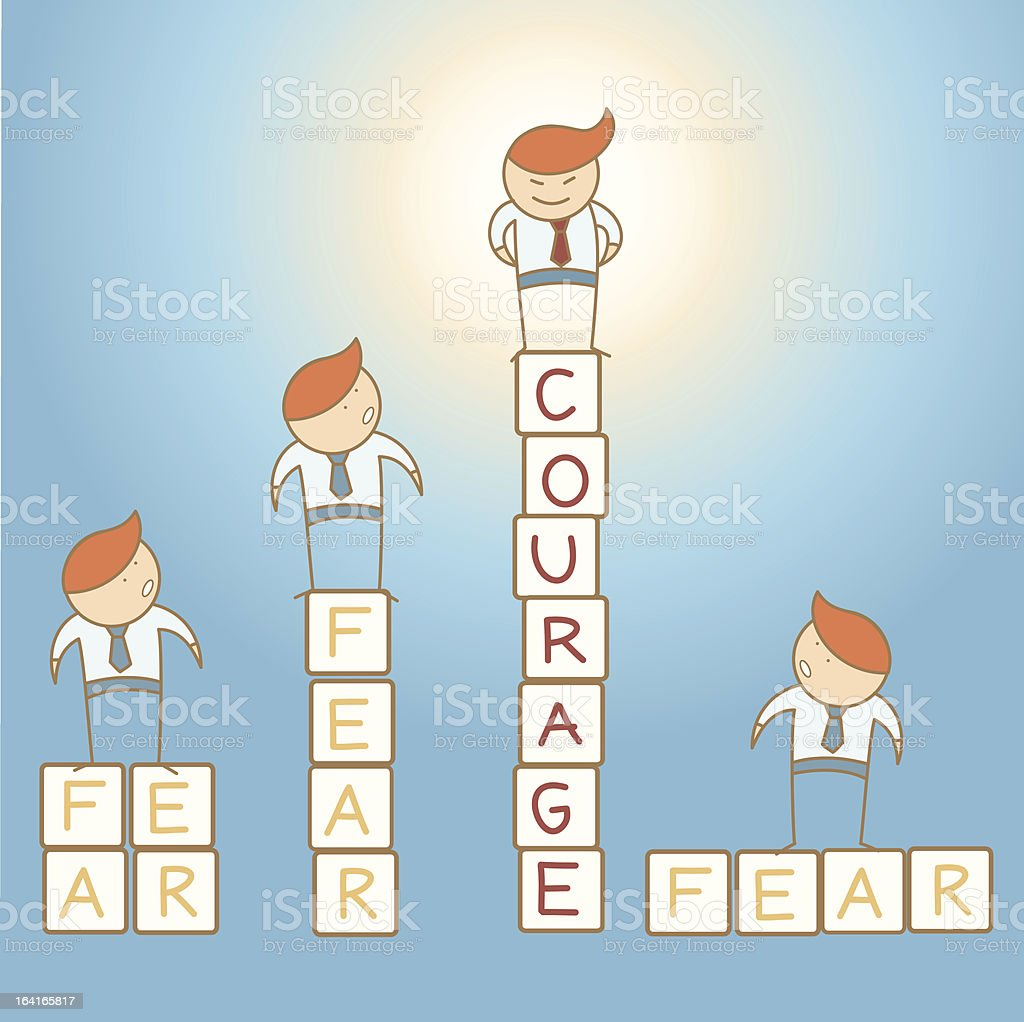 fear courage business man royalty-free stock vector art