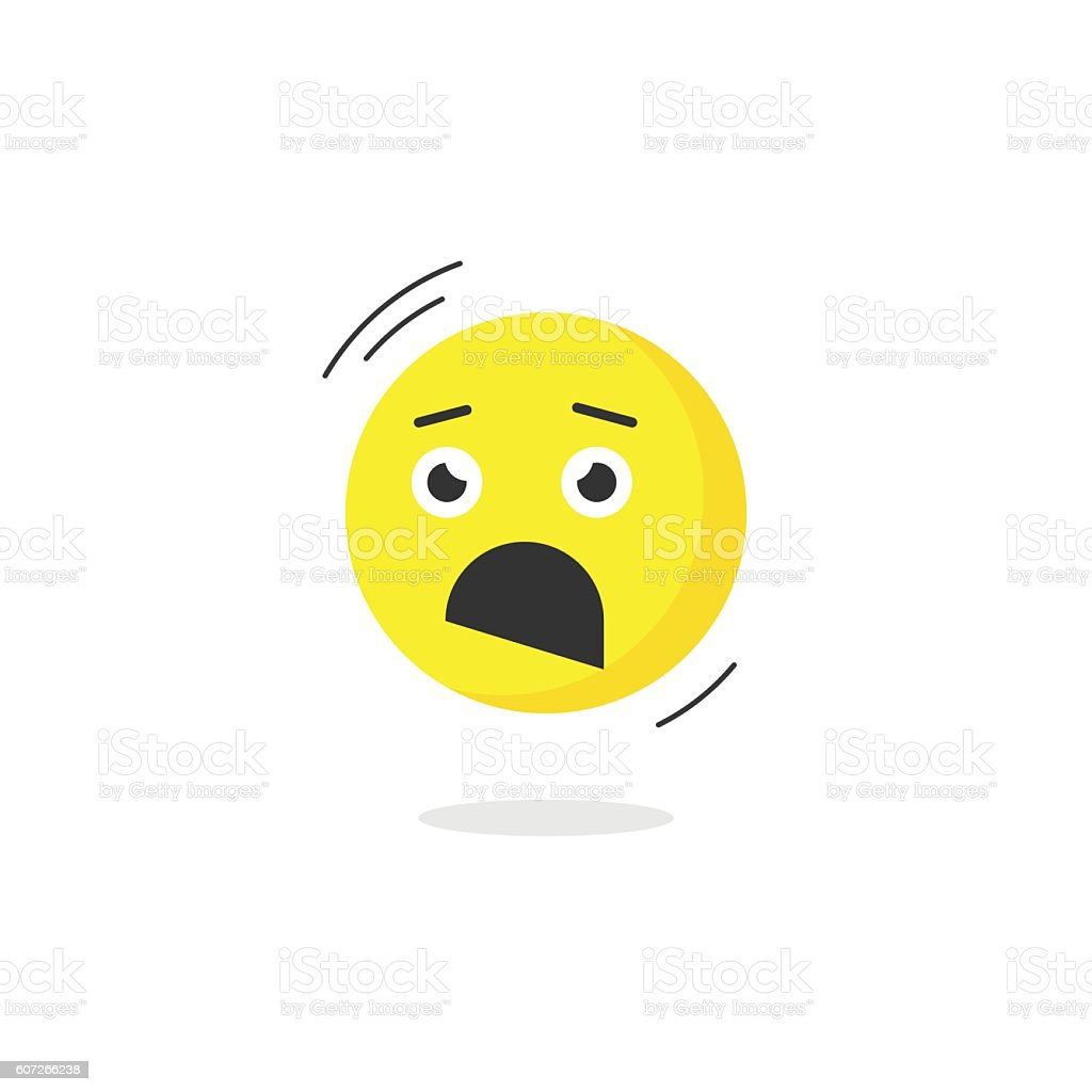Fear emoticon face icon isolated, scared emotion, cartoon flat...
