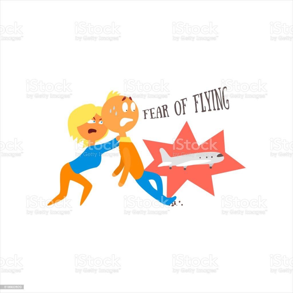Fear Of Flying Vector Illustration vector art illustration