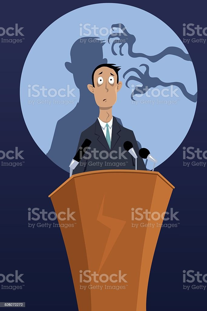 Fear of Public Speaking vector art illustration