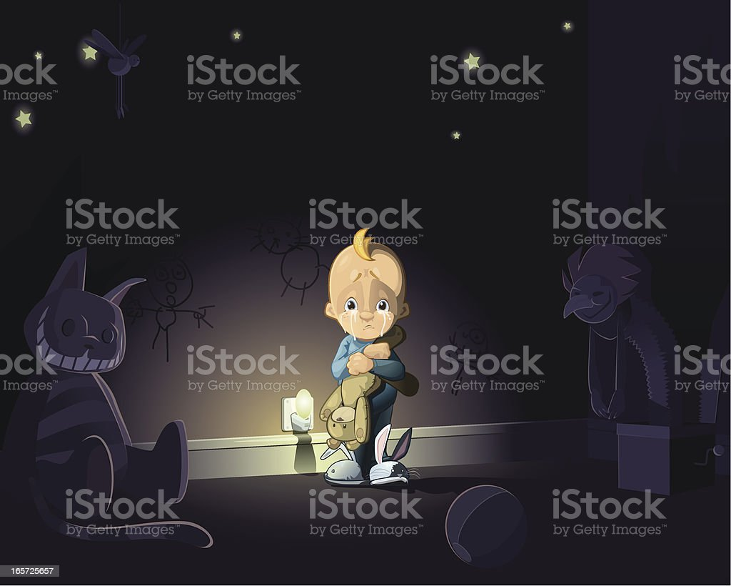 Fear of the dark vector art illustration