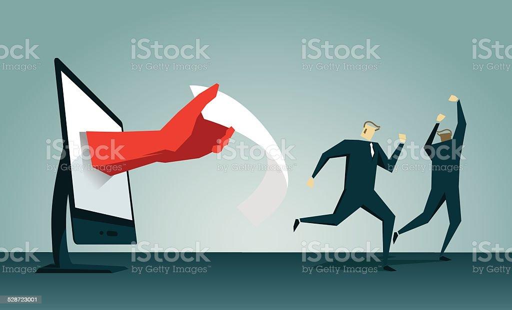 Fear,Debt,Escape, Bill,Warn, Notice,Running,  Run Away vector art illustration