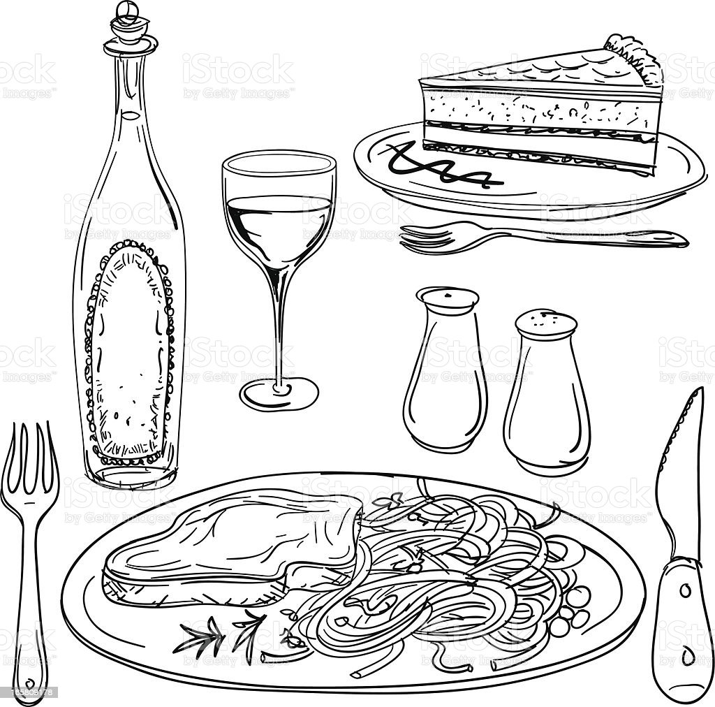 Feast illustration in black and white vector art illustration