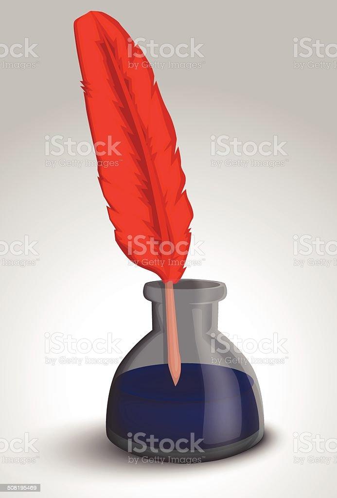 Plume et encre bouteille stock vecteur libres de droits libre de droits