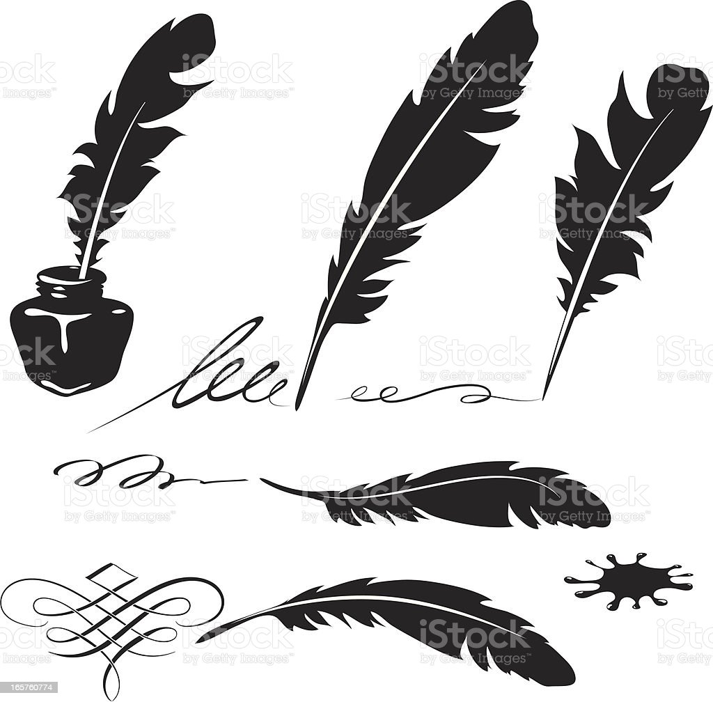 Feather and ink vector art illustration
