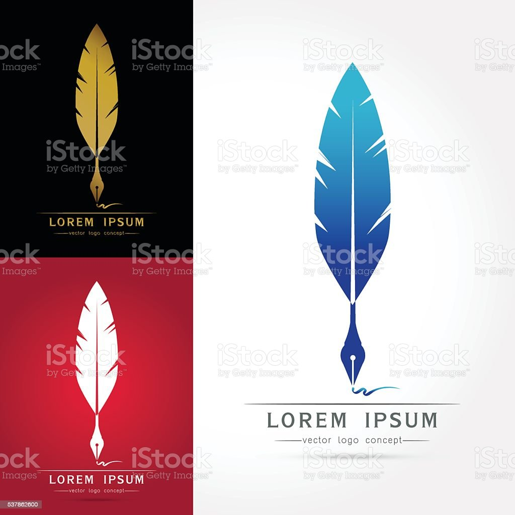 Feather calligraphy pen icon vector art illustration