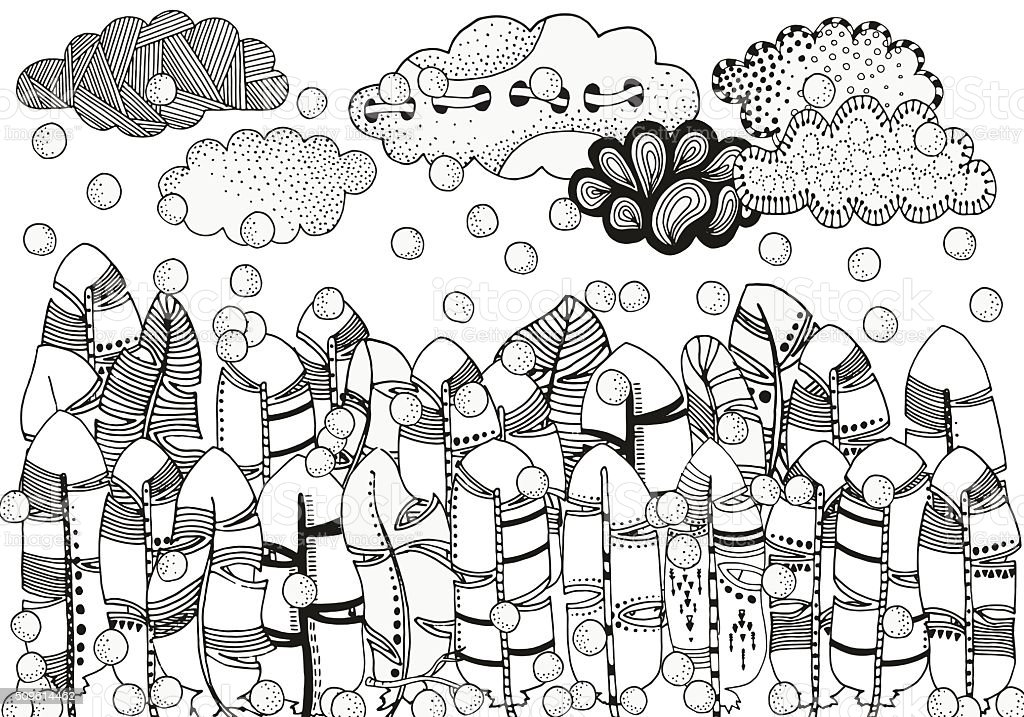 Feather forest, artistically clouds, winter illustration, snowing. vector art illustration