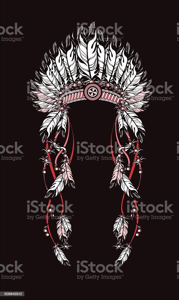 feather headdress Indians vector art illustration
