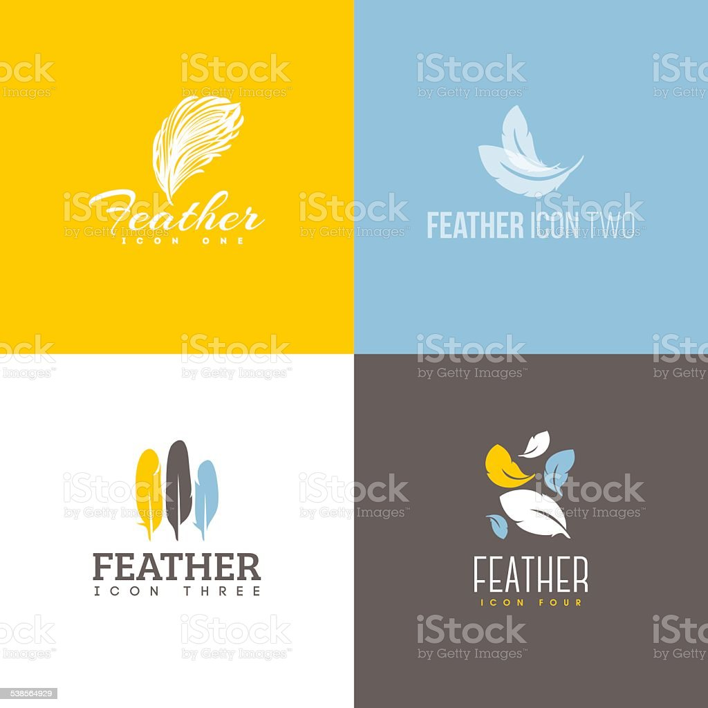 Feather icon. Set of design elements vector art illustration
