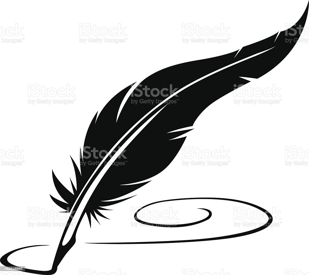 feather pen vector art illustration