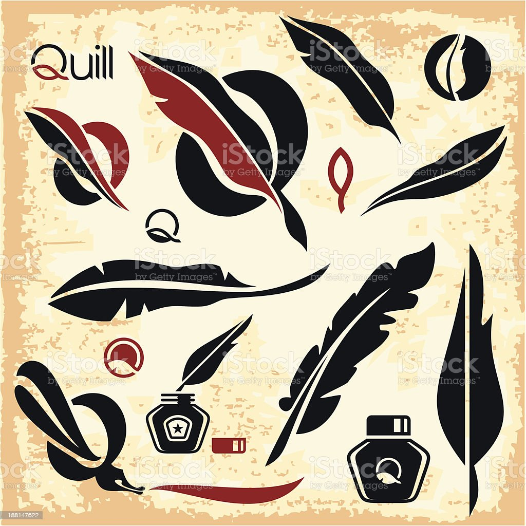 Feather. Quill. vector art illustration