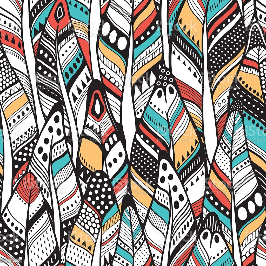 Feather seamless pattern vector art illustration