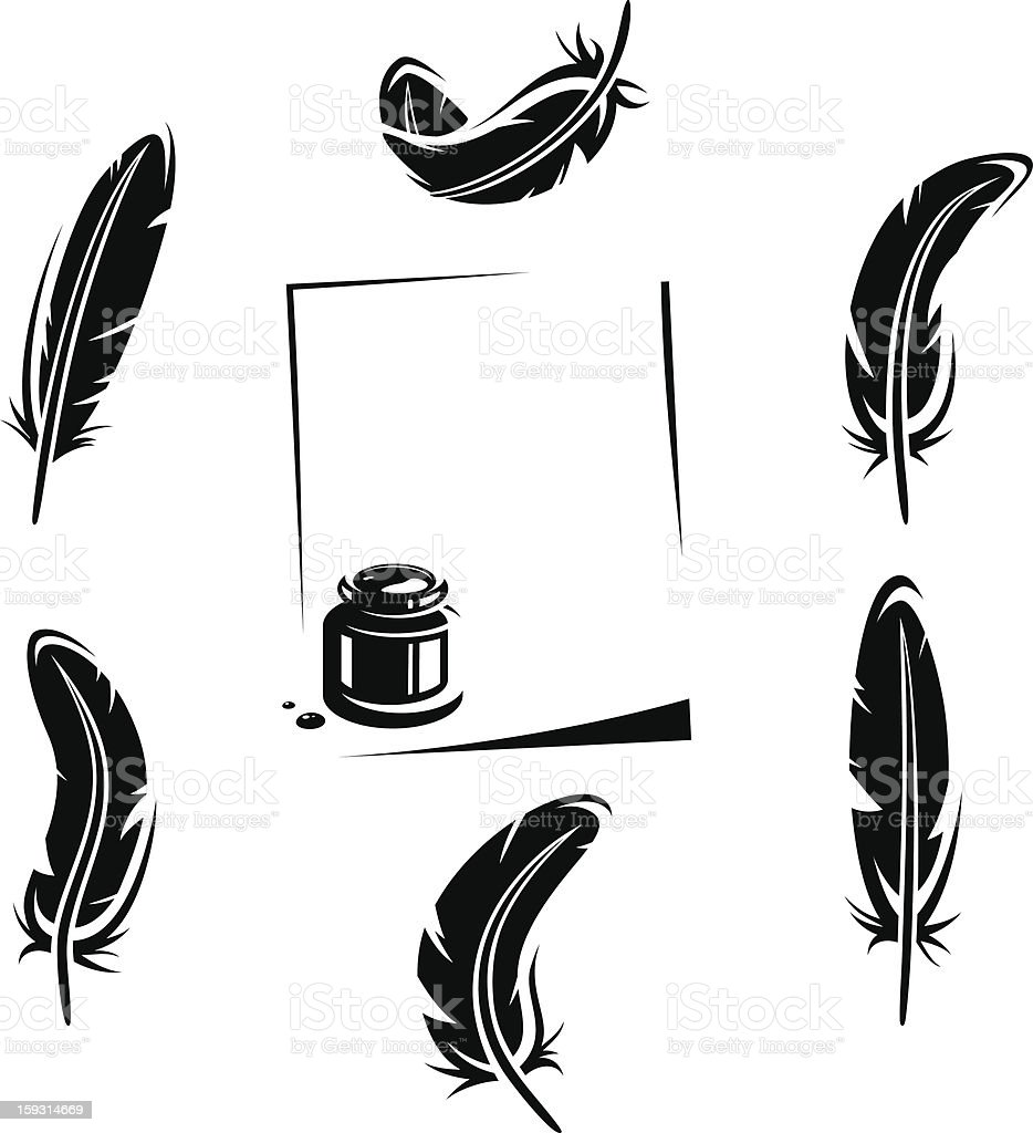 Feather set. Vector royalty-free stock vector art