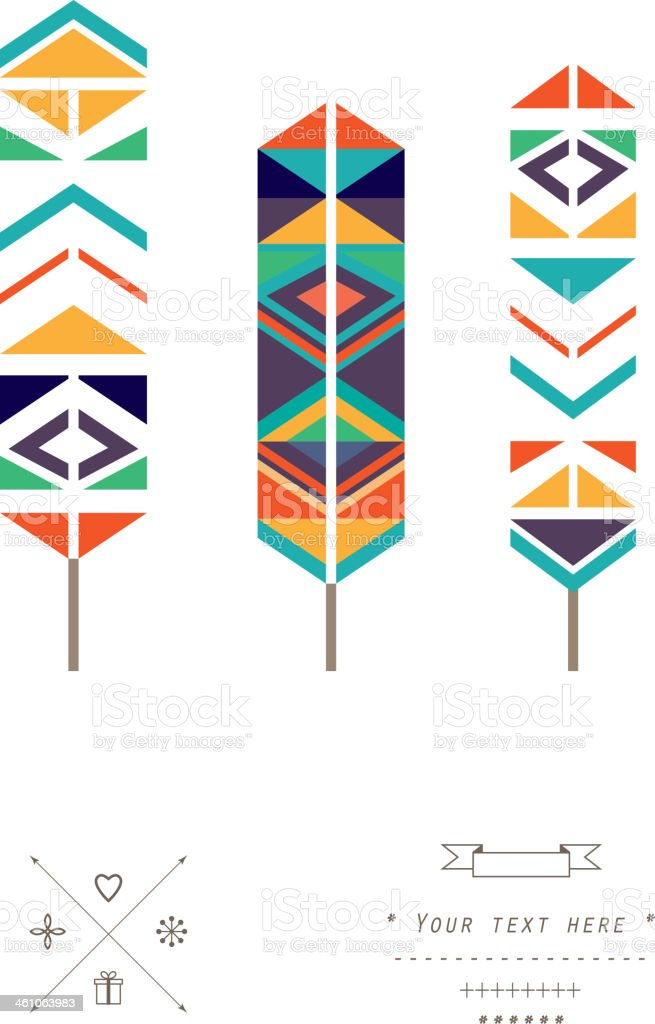 Feathers ethnic pattern in vector isolated on a white background vector art illustration