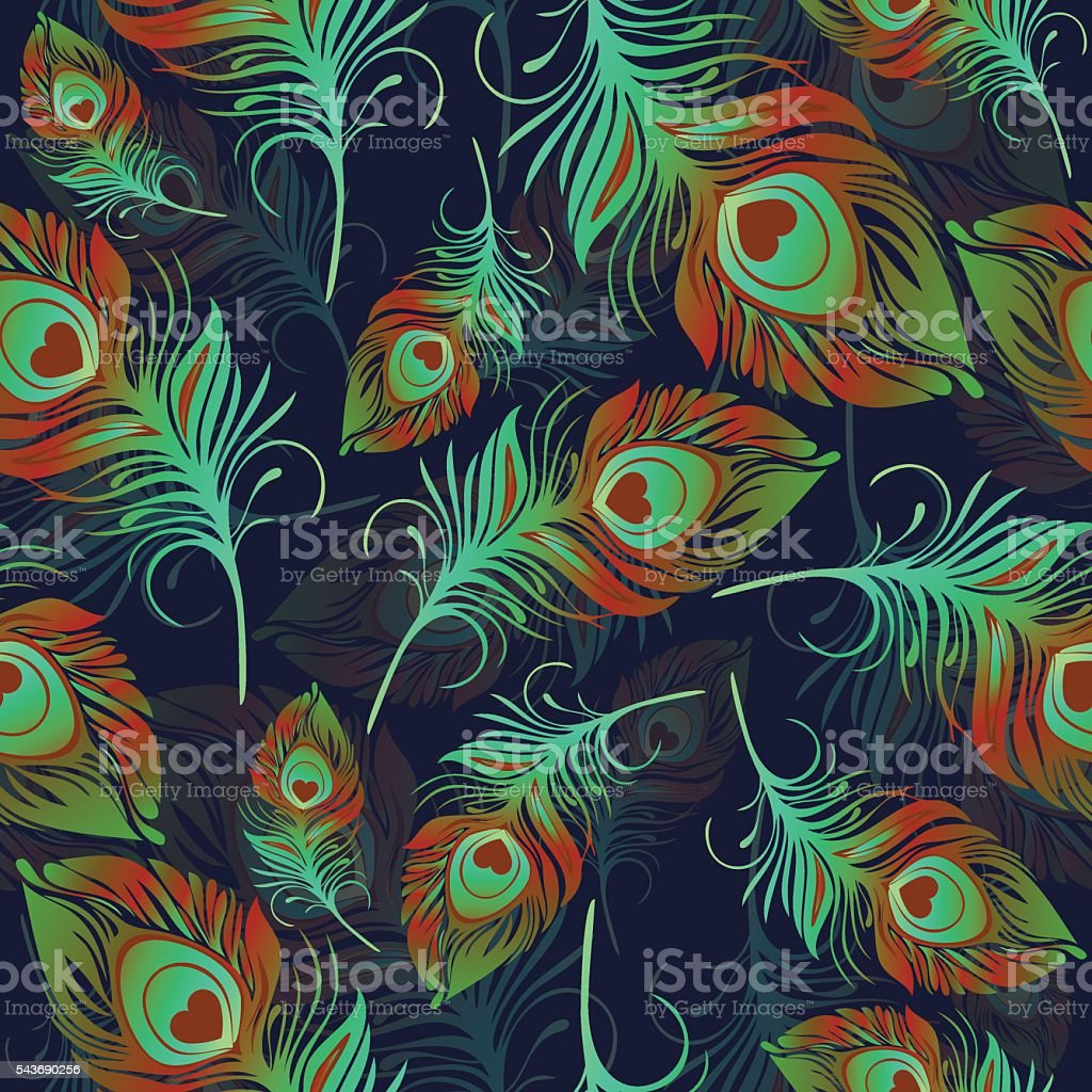 Feathers seamless pattern royalty-free stock vector art