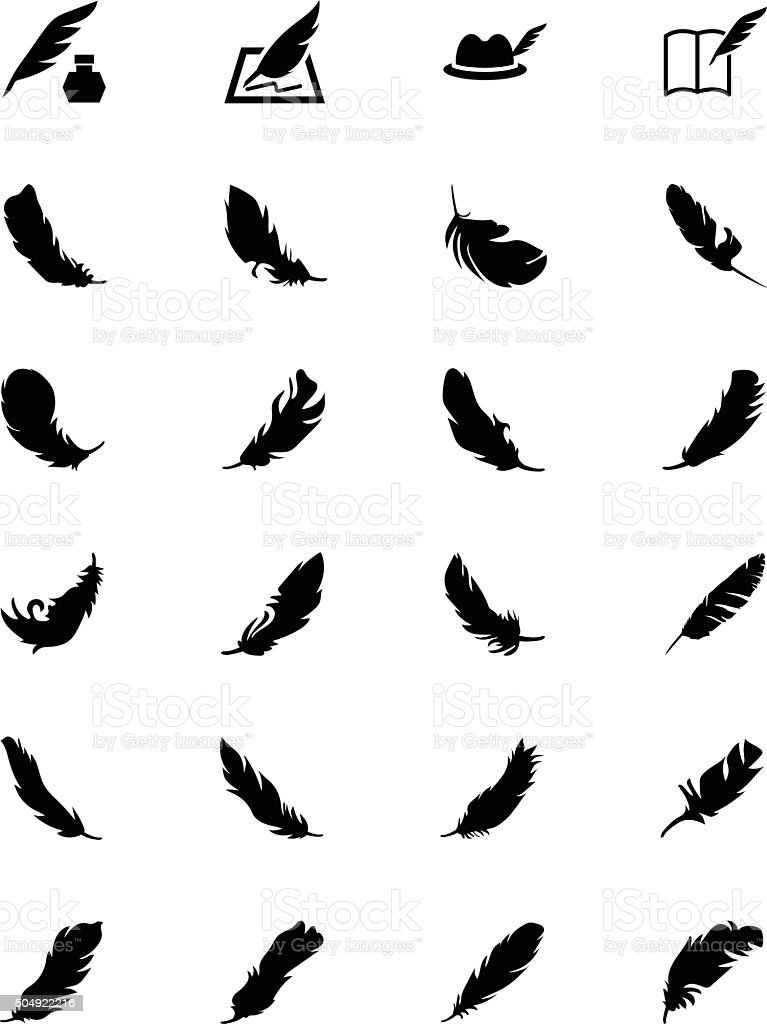 Feathers Vector Solid Icons 5 vector art illustration