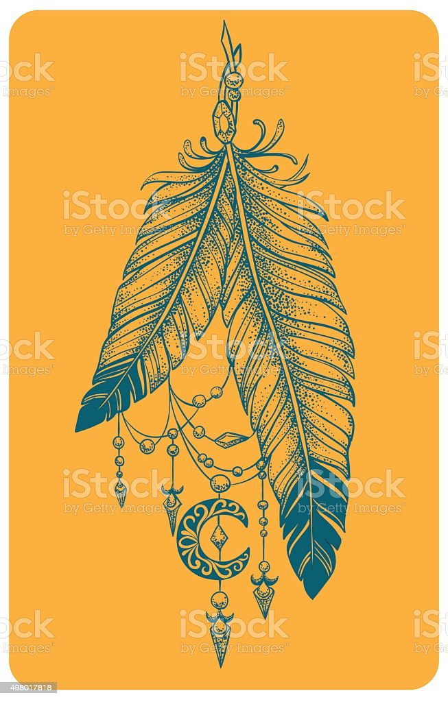 Feathers with pendants and crescent moon in a graphic style vector art illustration