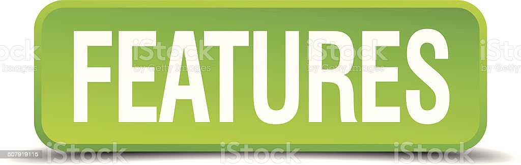 Features green 3d realistic square isolated button vector art illustration